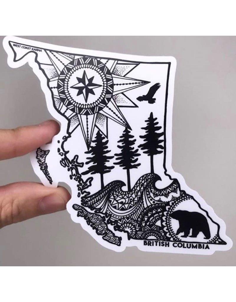West Coast Karma BC Map Sticker