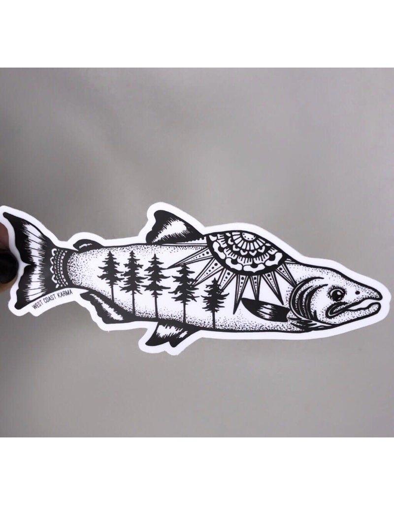West Coast Karma Salmon Sticker