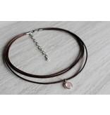 Woven Stone Co Antique Brown Leather + Rose Quartz Necklace