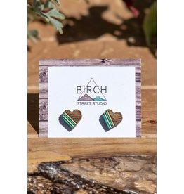 Birch Street Studio Heart Studs Striped Mint/Gold Dark Wood