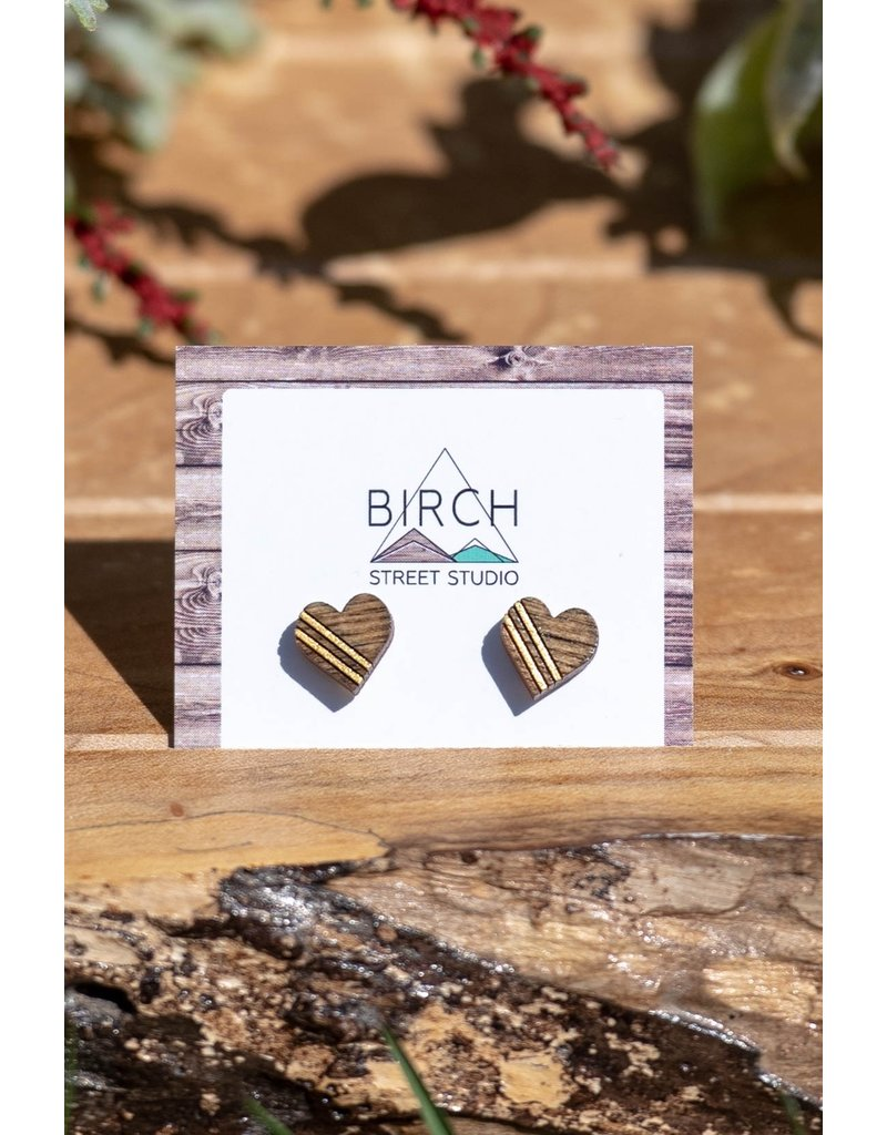 Birch Street Studio Heart Studs Striped Gold Dark Wood