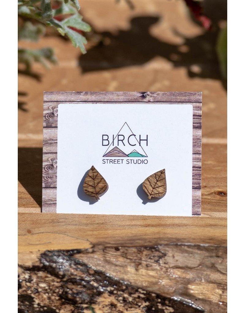 Birch Street Studio Leaves Studs Dark Wood