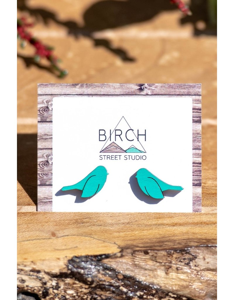 Birch Street Studio Mint Bird Studs