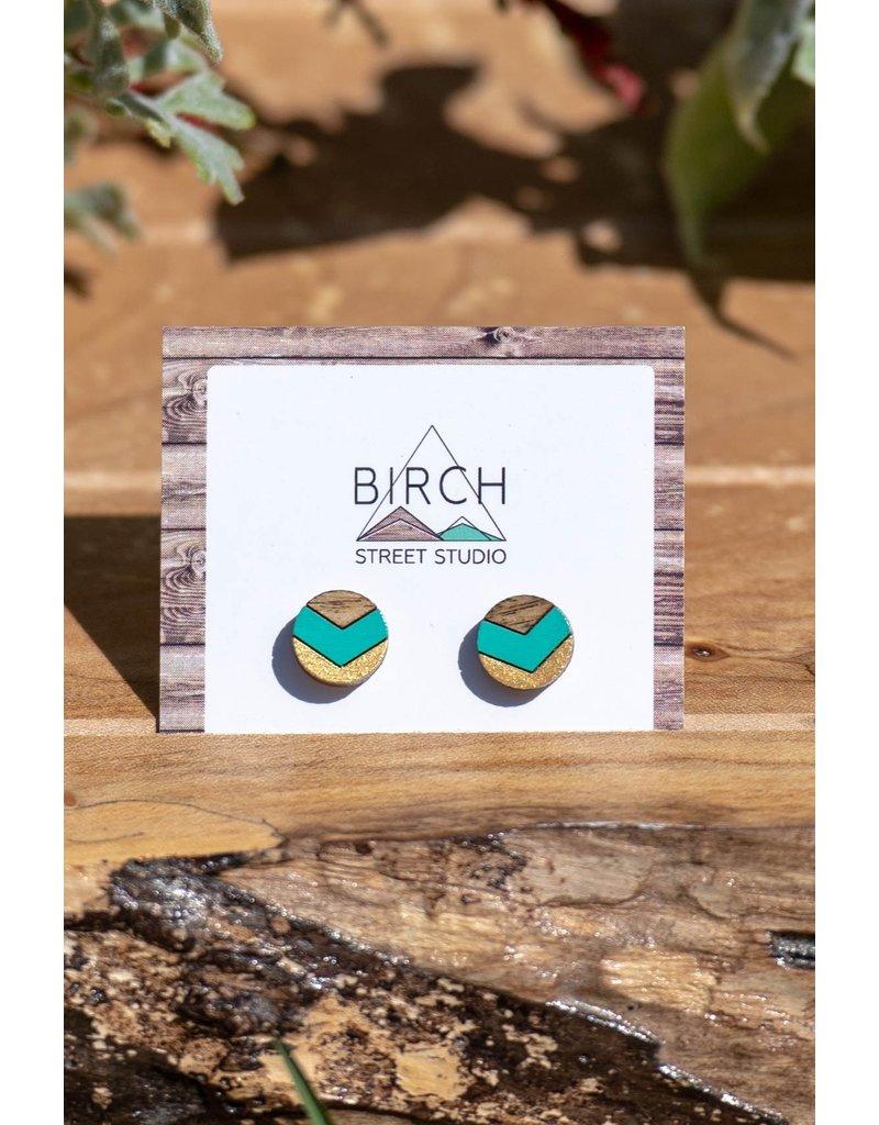 Birch Street Studio Chev Mint & Gold Dark Wood Studs