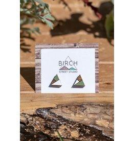 Birch Street Studio Tri Moss & White Dark Wood Studs