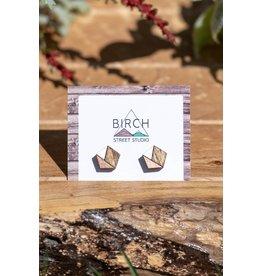 Birch Street Studio Hex Rose Gold & White Dark Wood Studs