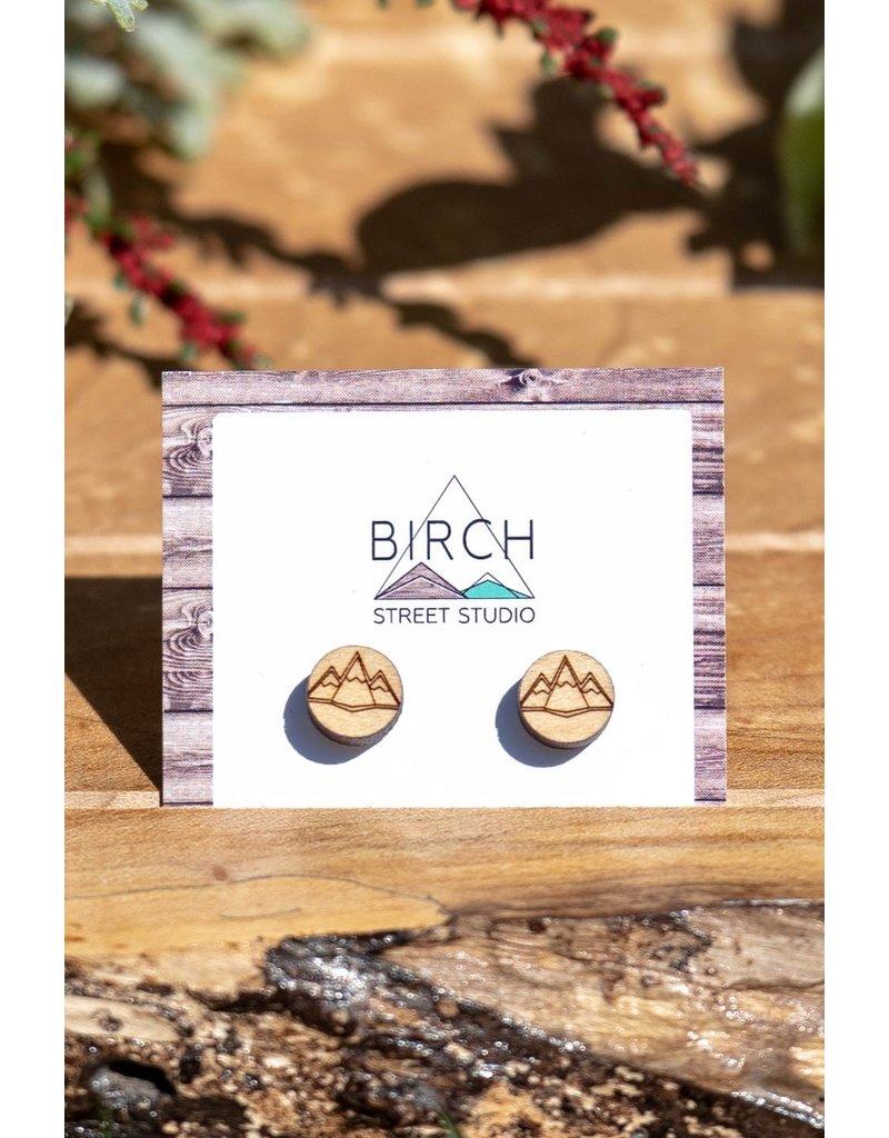 Birch Street Studio Geo Mountains Maple Studs