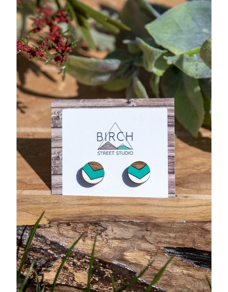 Birch Street Studio Chev Mint & White Dark Wood Studs