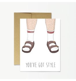 Party Mountain Paper Co Socks And Sandals Card