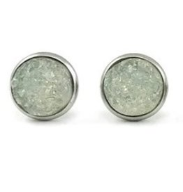 White Fox Collective Faux Druzy Earrings- Clear White
