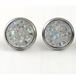 White Fox Collective Faux Druzy Earrings- Crystal