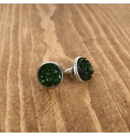 White Fox Collective Faux Druzy Earrings- Emerald