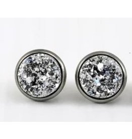 White Fox Collective Faux Druzy Earrings- Silver