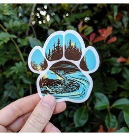 "Amanda Key Design Paws for Adventure- River Vinyl Sticker 3"""