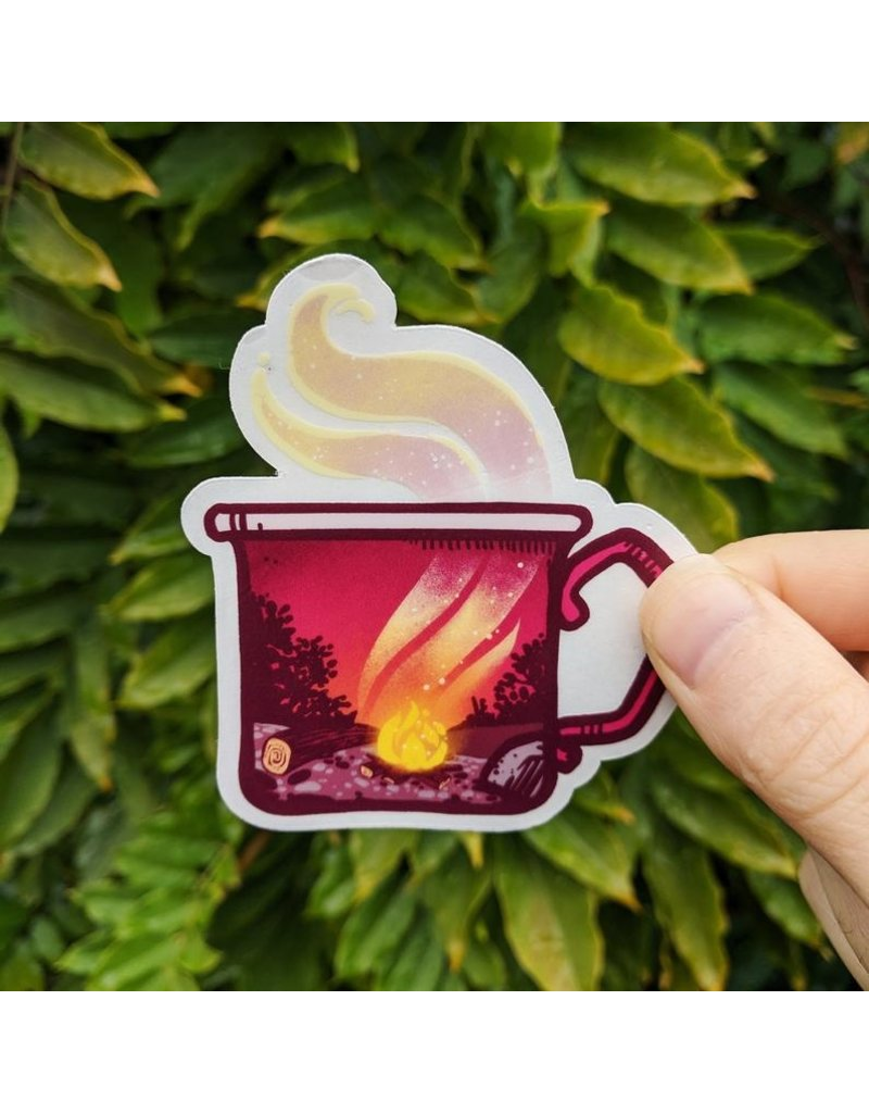 "Amanda Key Design Fireside Mug Clear Vinyl Sticker 3"""