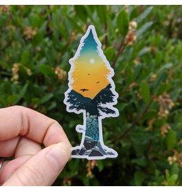 "Amanda Key Design Cedar Tree Sunset Sticker 3"""