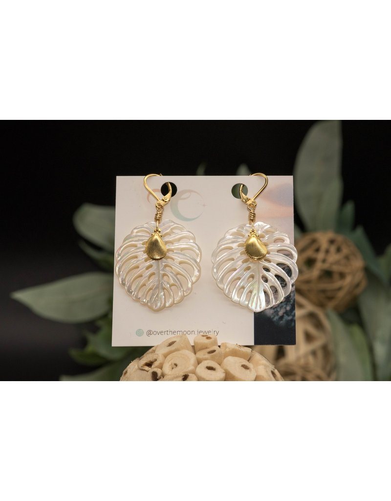Over the Moon Jewelry Monstera Leaf Earrings- Seashell