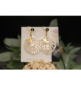 Over the Moon Jewelry Monstera Leaf Earrings- Starfish