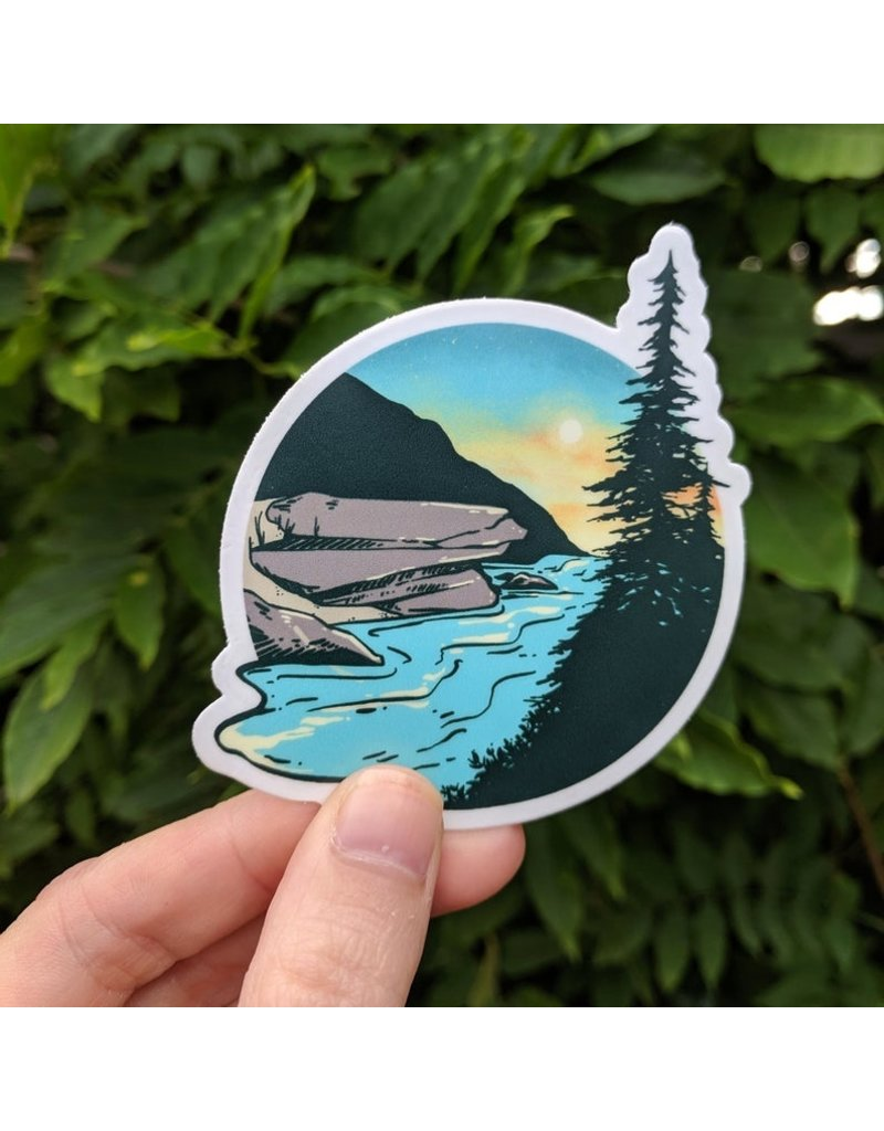Amanda Key Design River Landscape Vinyl Sticker 3""