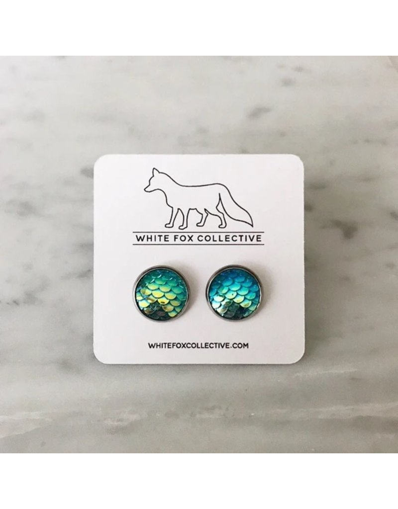 White Fox Collective Teal Mermaid Earrings