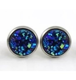 White Fox Collective Faux Druzy Earrings- Midnight