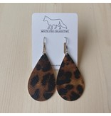 White Fox Collective Leopard Vegan Leather Earrings
