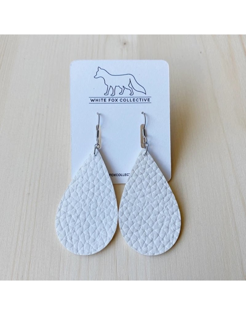 White Fox Collective White Vegan Leather Teardrop Earrings
