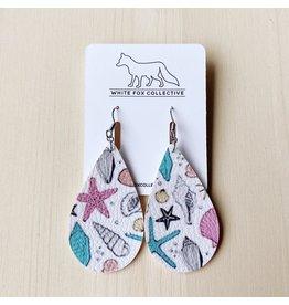 White Fox Collective Ocean Vegan Leather Teardrop Earrings