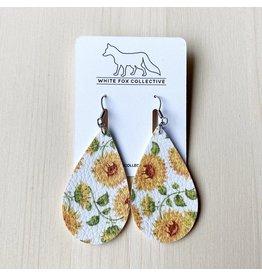 White Fox Collective Sunflower Vegan Leather Teardrop Earrings