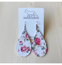White Fox Collective Pink Floral Vegan Leather Teardrop Earrings