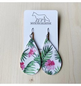 White Fox Collective Tropical Floral Vegan Leather Teardrop Earrings