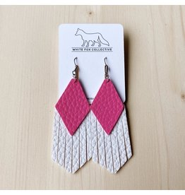 White Fox Collective Hot Pink and White Vegan Leather Tassel Earrings