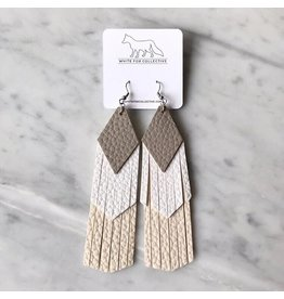 White Fox Collective Sand, White and Cream Tassel Vegan Leather Earrings