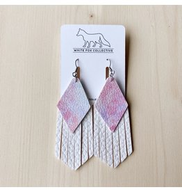 White Fox Collective Watercolour and White Tassel Vegan Leather Earrings