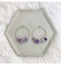 White Fox Collective Stone Hoop Earrings - Amethyst