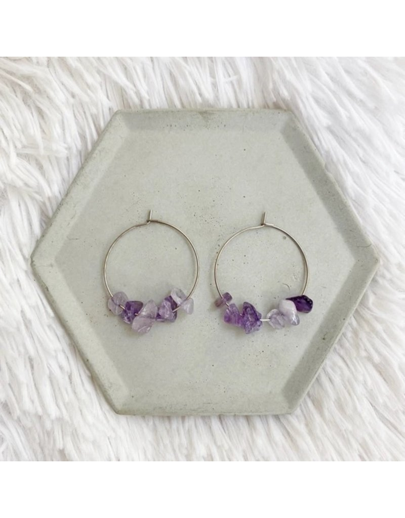 White Fox Collective Stone Hoop Earrings - Amethyst