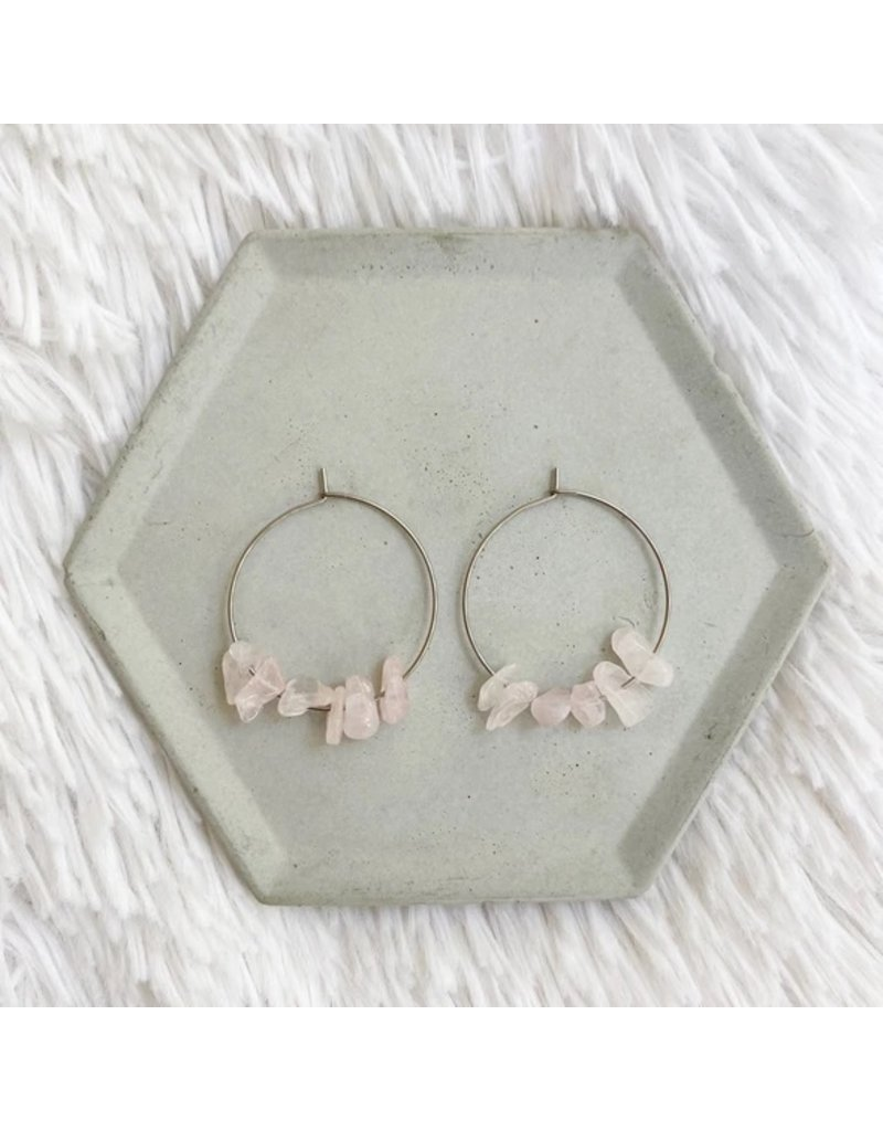 White Fox Collective Stone Hoop Earrings - Rose Quartz