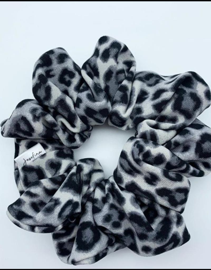 Grey Leopard Scrunchie