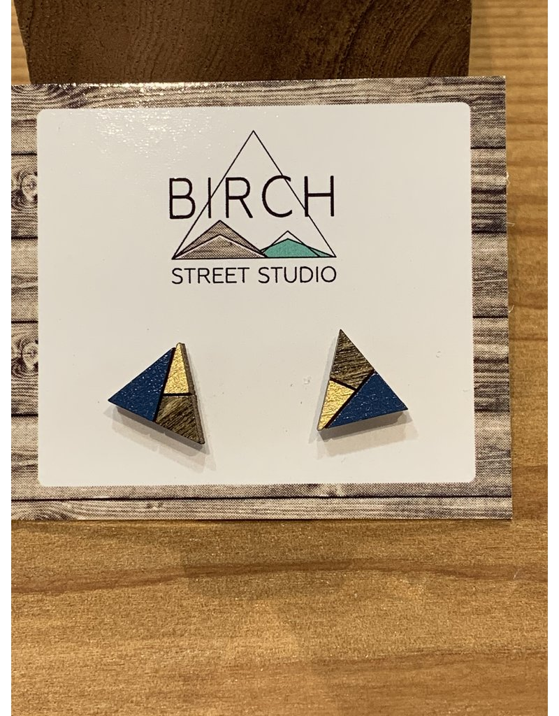Birch Street Studio Tri Navy/Gold Earrings