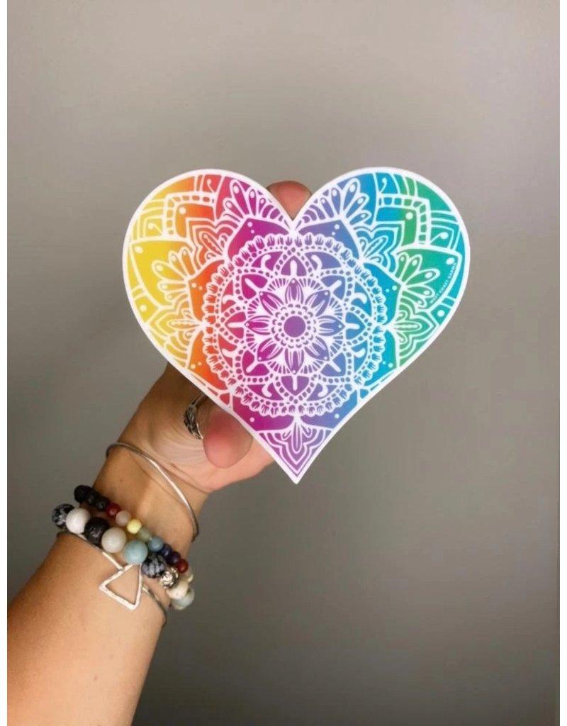 West Coast Karma Rainbow Light Heart Vinyl Sticker