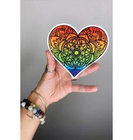 West Coast Karma Rainbow Heart Vinyl Sticker
