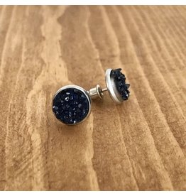 White Fox Collective Sapphire Faux Druzy Earrings