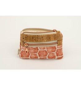 Dyan Made Pink + Rose Gold Giraffe Double Zip Mini Wallet
