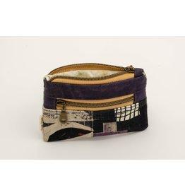 Dyan Made Purple Double Zip Mini Wallet