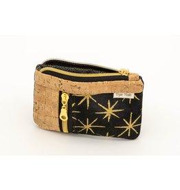 Dyan Made Black + Gold Small Zip Mini Wallet