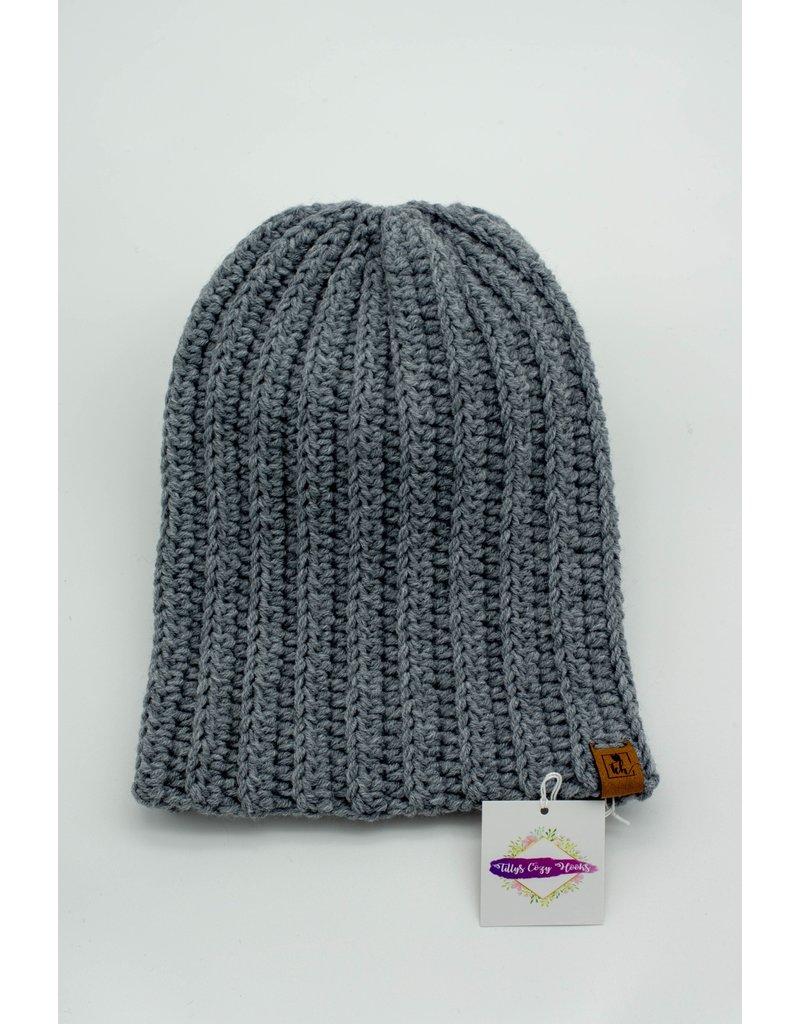 Tillys Cozy Hooks Grey Slouchy Toque