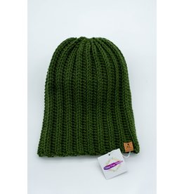 Tillys Cozy Hooks Olive Green Slouchy Toque