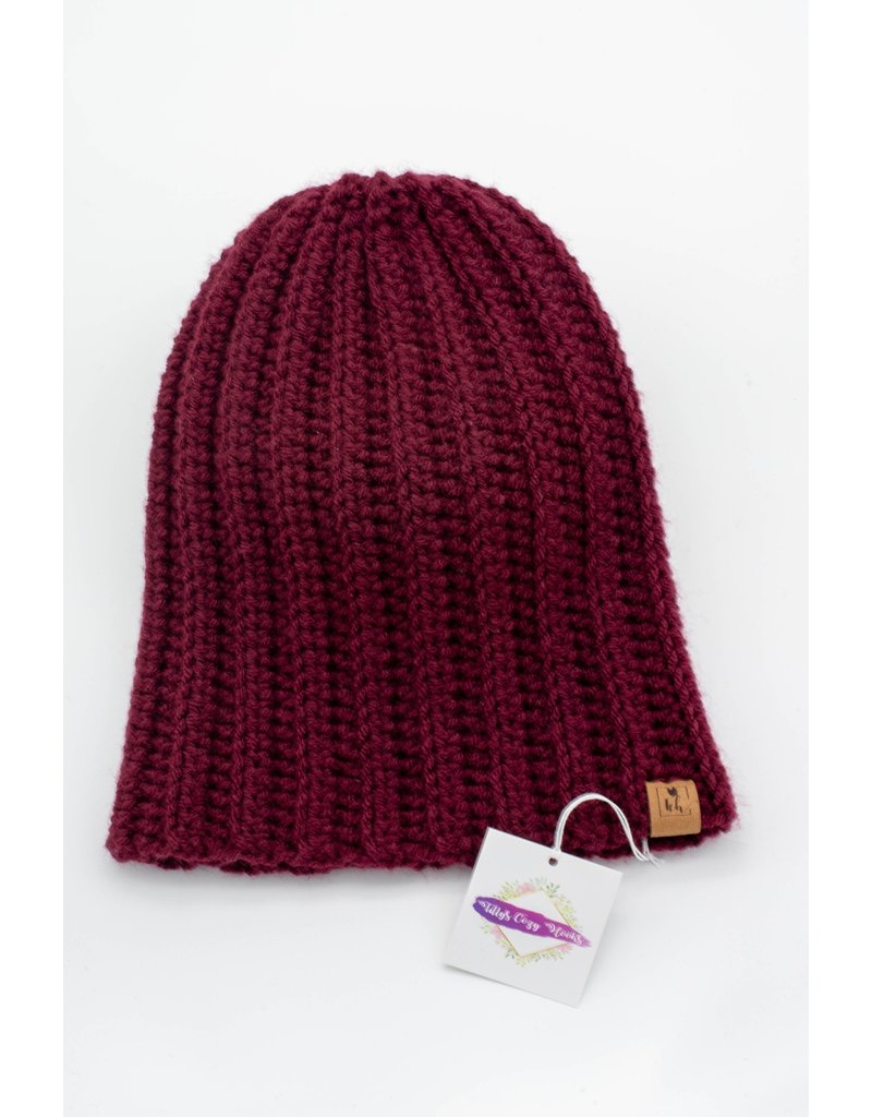 Tillys Cozy Hooks Wine Slouchy Toque
