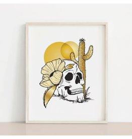 2humans1pooche Skull Cactus Flower Boho Print