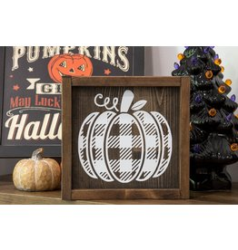 Cultured Coast Buffalo Plaid Pumpkin Sign